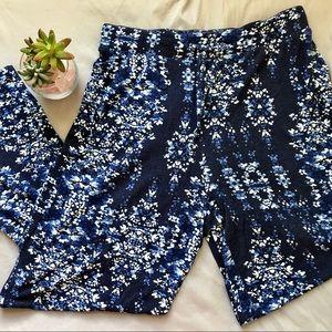 Tahari Floral Pajama Bottoms L Navy and White